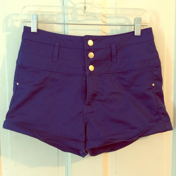 Charlotte Russe Pants - Charlotte Russe blue high waisted jean shorts, EUC